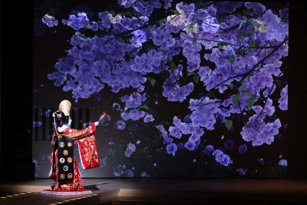 National Theatre in Japan, a show of kabuki, Moon, Snow and Flowers