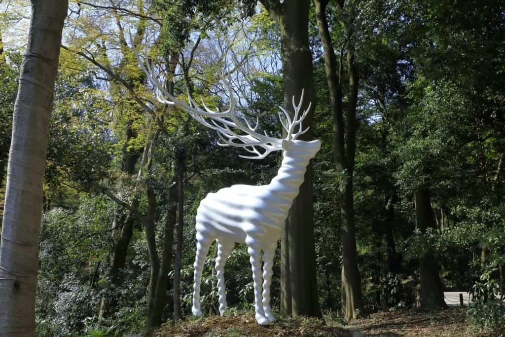 white deer at the Meiji Jingu statue