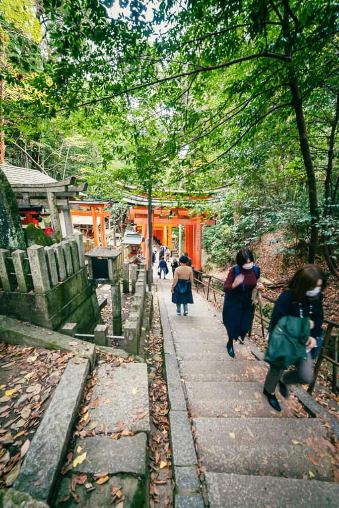walkway down Japanese torii gates at Fushimi Inari Shrine