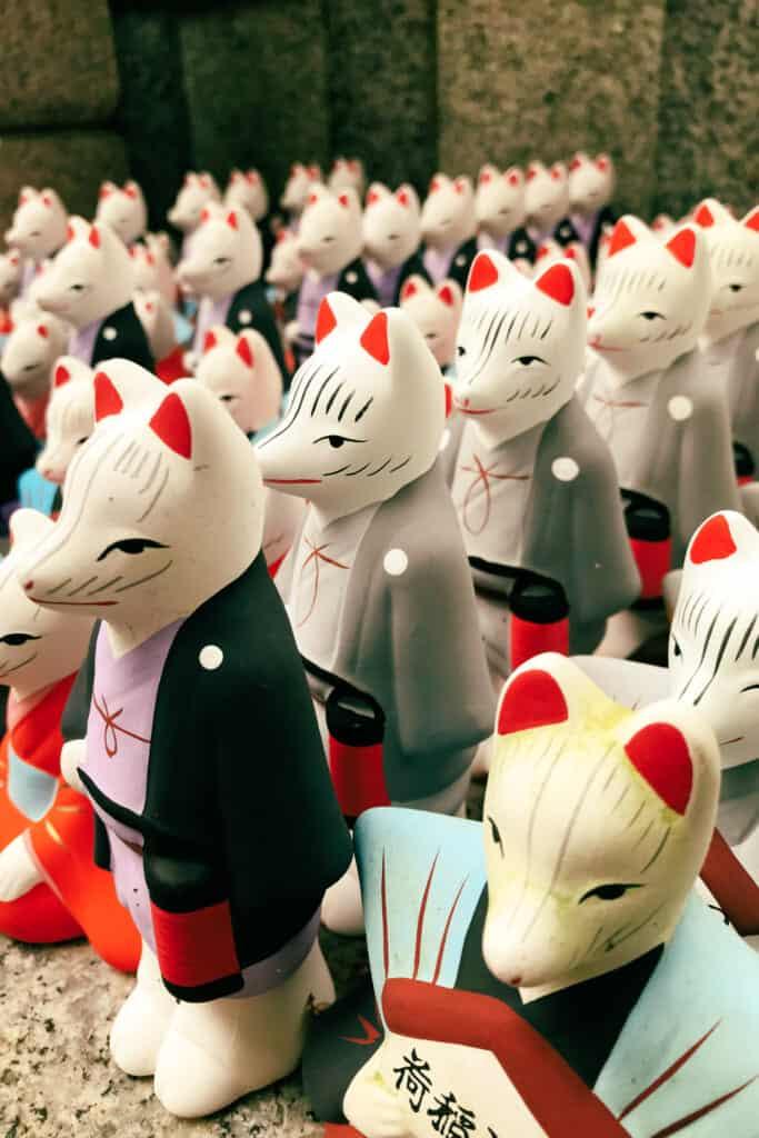 ceramic fox figures in Japan