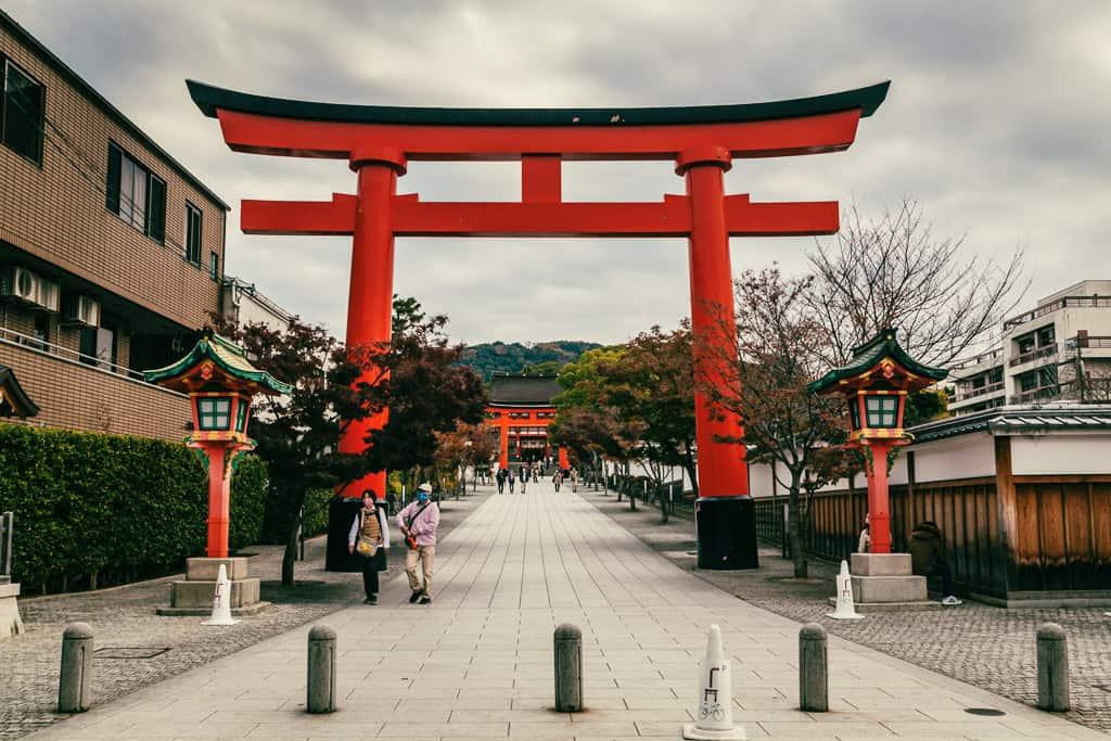 First gate of Fushimi Inari Taisha in Kyoto, Japan