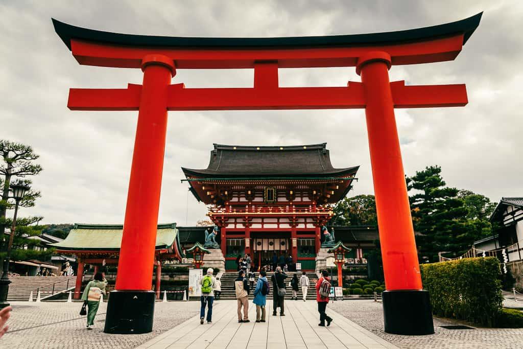 Traditional Japanese gate at Fushimi Inari Taisha in Kyoto, Japan