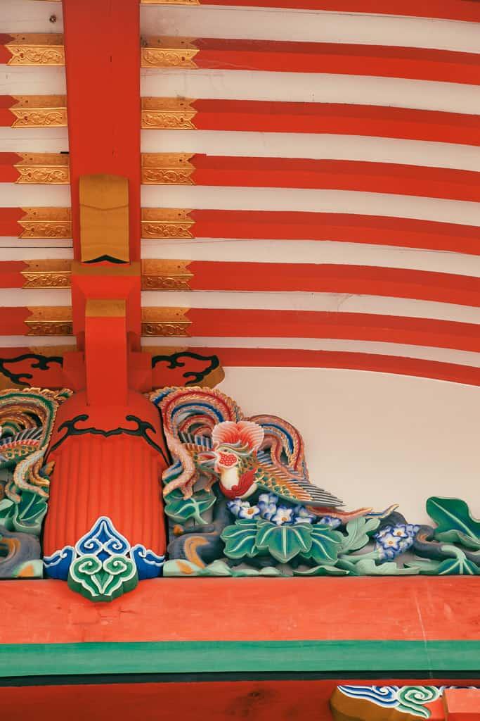 Detail of inner pavilion of Fushimi Inari Taisha in kyoto, Japan
