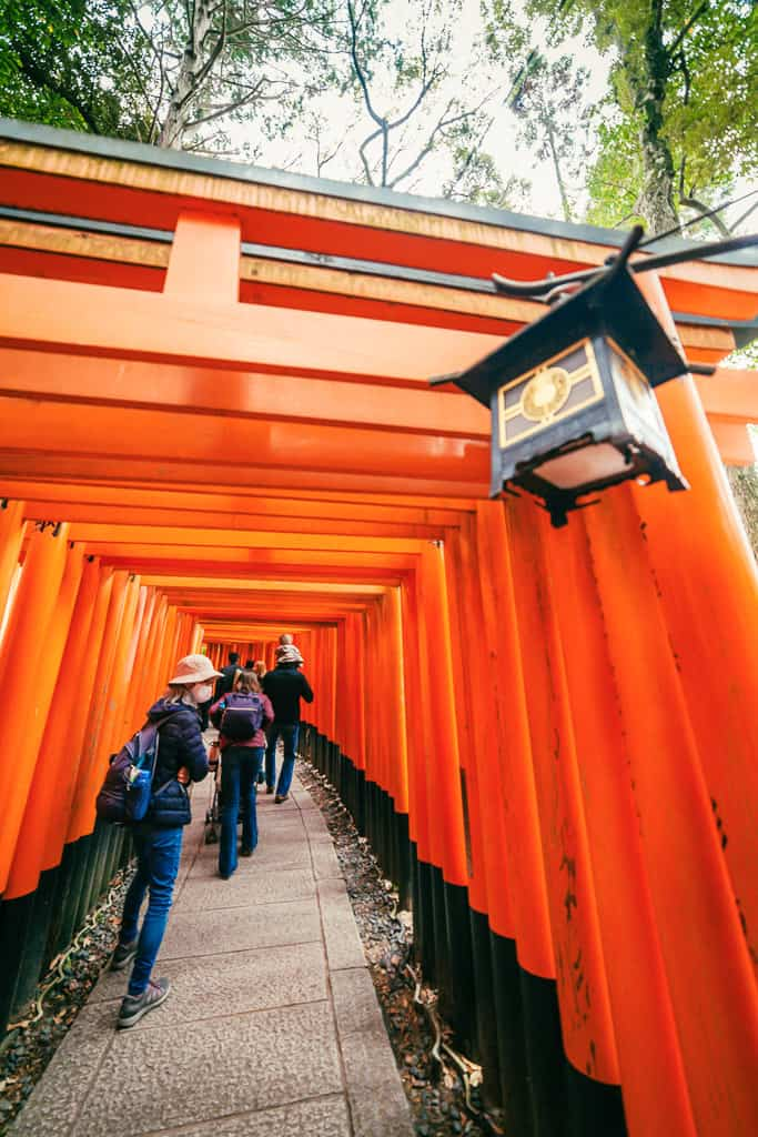 Japanese torii gates with people