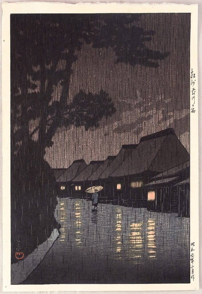 japanese woodblock print of a rainy night