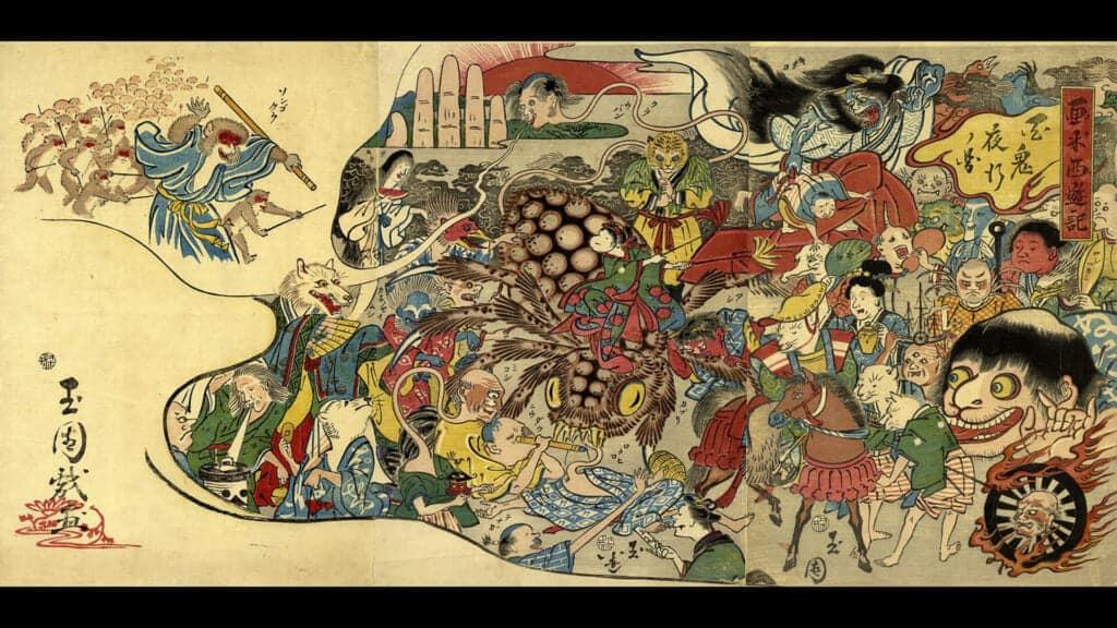 illustration of a yokai night parade in japan