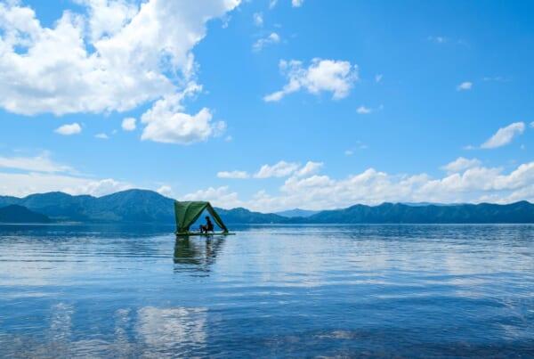 Floating tent in the middle of Lake Tazawa in Semboku, Akita