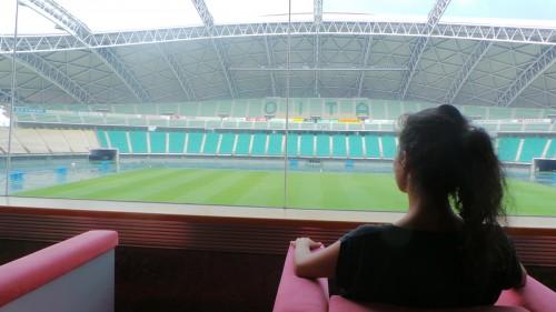 Fauteuil impérial au stade « Ōita Bank Dome » qui accueillera la coupe du monde de rugby au Japon de 2019 sur l'île de Kyushu