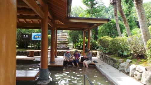 Onsen gratuit pour les pieds à l'Umi jigoku, Beppu sur l'île de Kyushu
