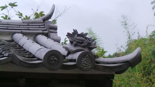 Détail du toit d'une ancienne maison de samouraï à Kitsuki sur l'île de Kyushu