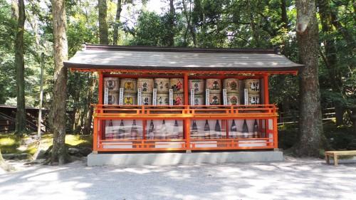 Barils de saké au sanctuaire Usa Jingū, situé dans la péninsule de Kunisaki, au nord de la préfecture d'Ōita sur l'île de Kyushu