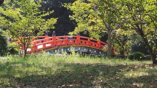 Pont du sanctuaire Usa Jingū, situé dans la péninsule de Kunisaki, au nord de la préfecture d'Ōita sur l'île de Kyushu
