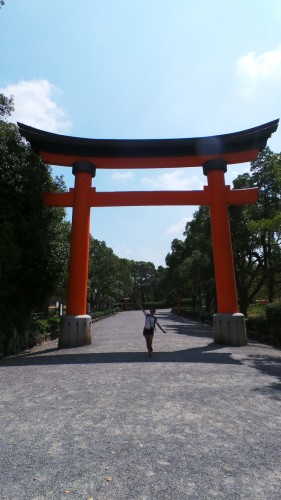Grand torii à l'entrée du sanctuaire Usa Jingū, situé dans la péninsule de Kunisaki, au nord de la préfecture d'Ōita sur l'île de Kyushu