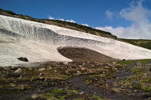 Rivière de neige dans la montagne Asahidake, parc Daizetsuzan, Hokkaido, Japon.