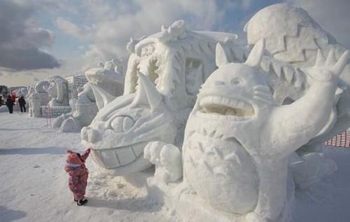 Sculpture de glaces du matsuri des neiges de Sapporo, Japon.