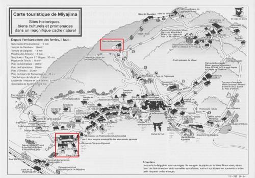 Carte touristique de Miyajima, Japon.