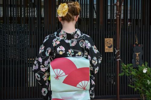 Le kimono choisi dans le magasin Ohbora pour ma journée dans les rues de Hida Furukawa, Gifu