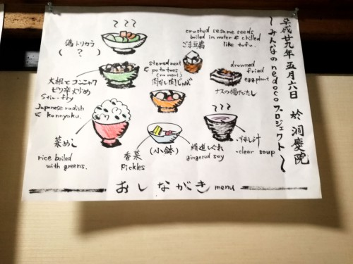 la nourriture servie au temple Tokei-in à Shizuoka qui sert d'hebergement pendant le festival World Theatre Festival Shizuoka