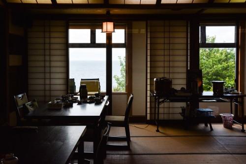 La salle des repas du minshuku takimoto sur l'île de Sado, Niigata