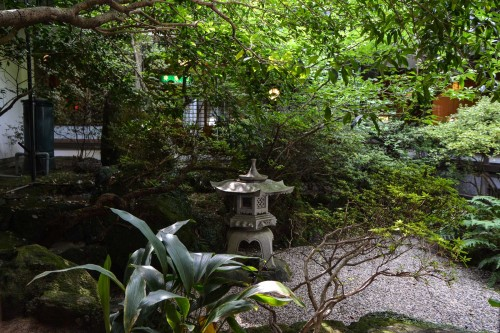 Le ryokan Mifuneyama Kanko Hotel à Takeo Onsen dans la prefecture de Saga avec la vue sur le jardin