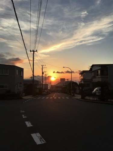 Oshima, Pacifique, île de Tokyo, coucher de soleil