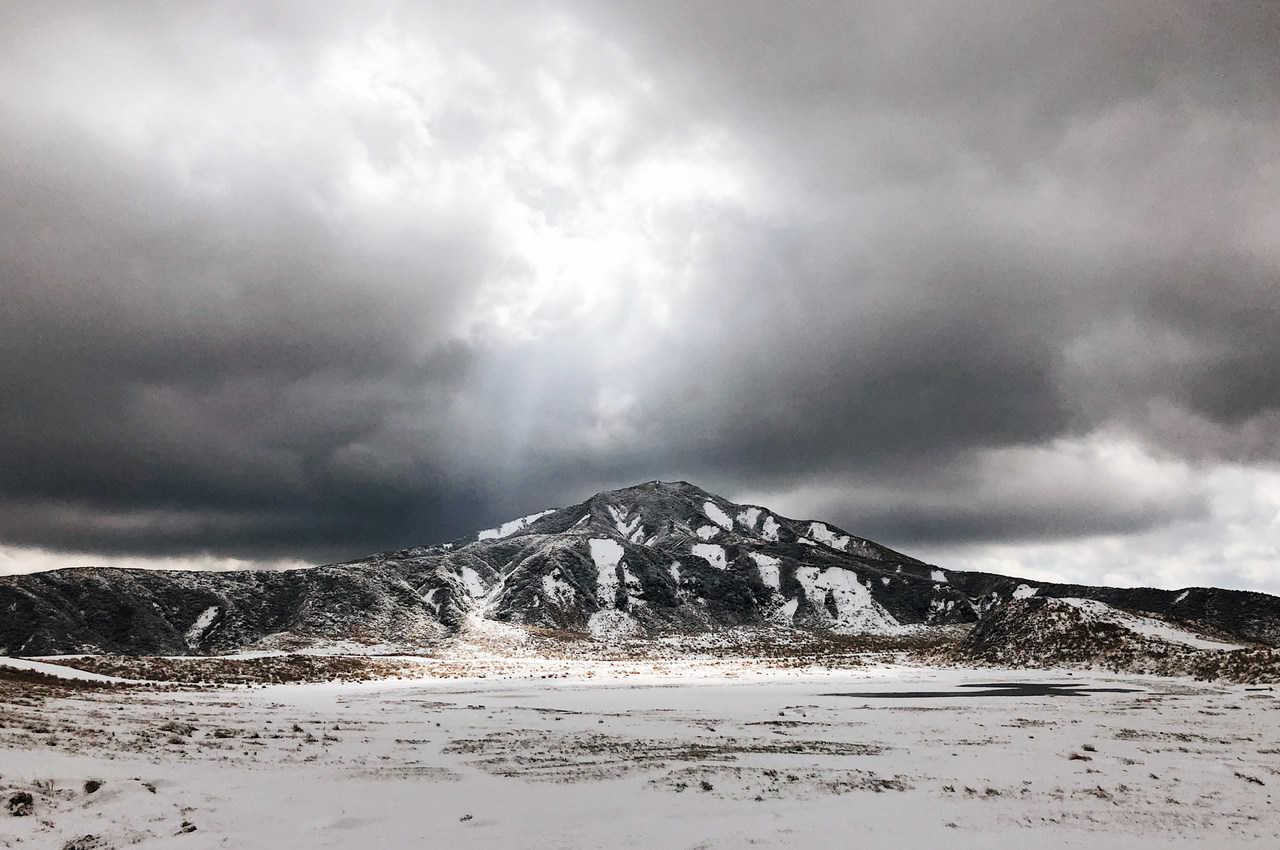 Balade hivernale dans la caldeira du mont Aso