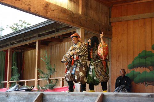 Pièce de théâtre Nô sur l'île de Sado dans la Préfecture de Niigata, Japon