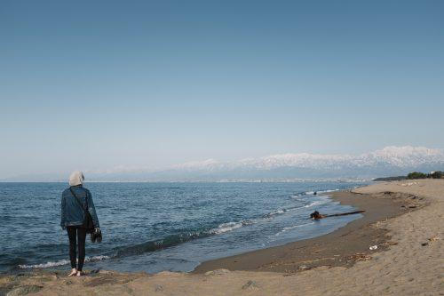 La plage à Toyama dans la région d'Hokuriku, Japon