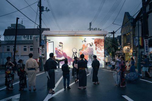 Un edoro de grande taille au festival de Tanabata à Yuzawa, préfecture d'Akita, Japon