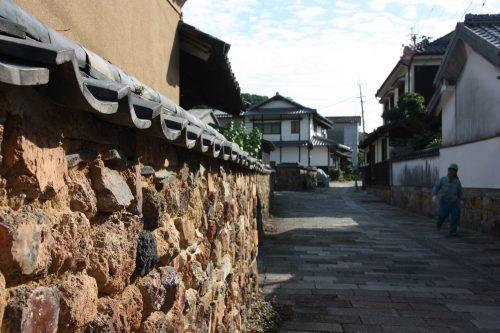 Mur tombai dans le quartier historique d'Uchiyama à Arita, préfecture de Saga, Kyushu, Japon