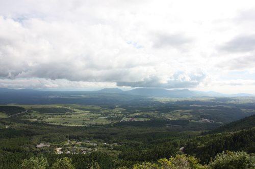 Vue sur le parc national d'Aso-Kuju, préfecture d'Oita, Kyushu, Japon