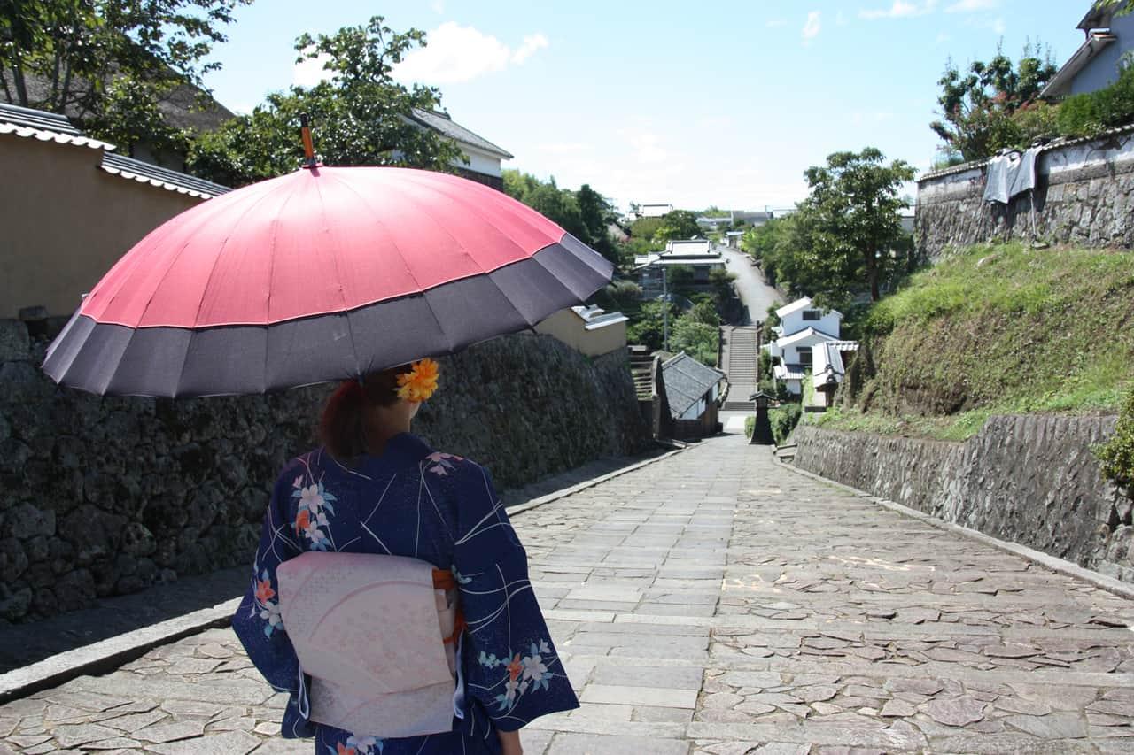 Kitsuki en kimono, préfecture d'Oita, Kyushu, Japon