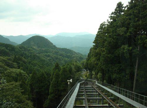 La vue à bord du funiculaire pour le Mt Hiko, préfecture de Fukuoka, Kyushu, Japon