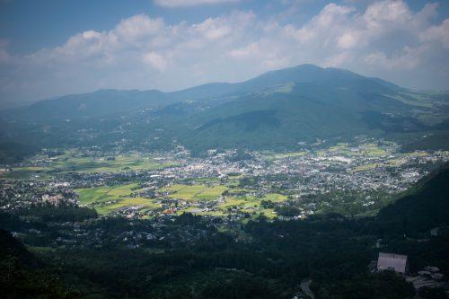 Vue depuis le Mont Yufudake près de Yufuin, préfecture d'Oita, Japon