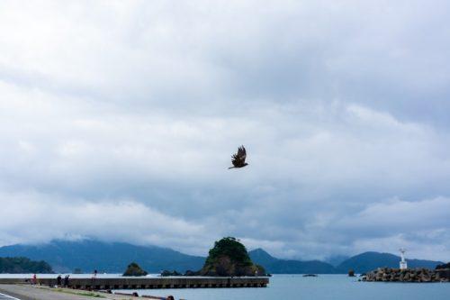 Au-dessus de la zone de pêche de Wakasa-Wada à Takahama, préfecture de Fukui, Japon