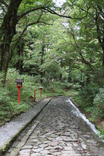 Chemin pavé au pied du Mt Daisen, préfecture de Tottori, Japon
