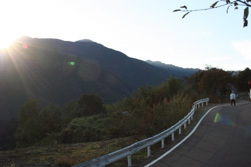 Vue depuis le Minshuku Yuzu no Sato à Mima, près de la vallée d'Iya, Tokushima, Shikoku, Japon