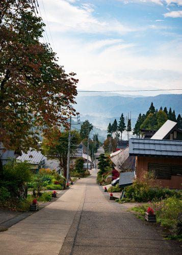 Vue sur le village de Kosuge, près d'Iiyama, préfecture de Nagano, Japon