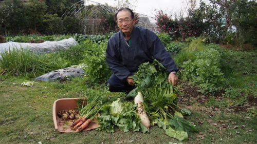 M Ohira et les légumes récoltés dans le jardin de sa ferme à Izumi, Kagoshima, Kyushu, Japon
