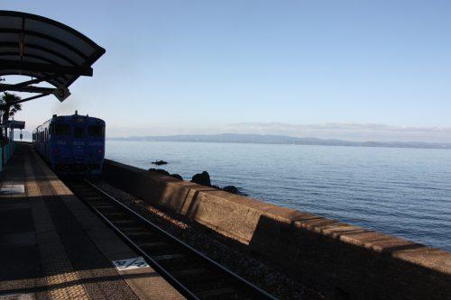 La baie d'Omura vue depuis le train Sea Side Liner, préfecture de Nagasaki