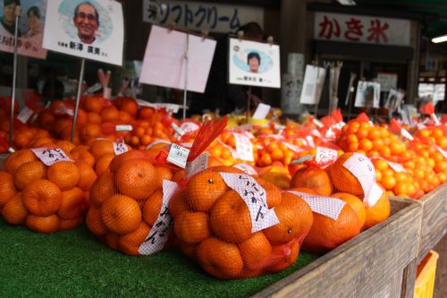 Stands d'agrumes de la région à Agri Restaurant Isoma, restaurant et boutique de produits locaux à Minamisatsuma, préfecture de Kagoshima, Japon