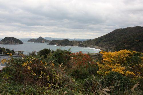 Vue sur la mer depuis les hauteurs de Ootou, Minamisatsuma, Kagoshima, Japon