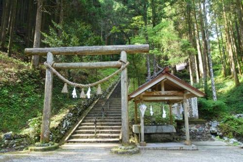 L'entrée du sanctuaire d'Akimoto, avec son torii, au milieu des arbres