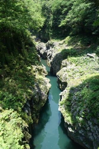 Vue sur les gorges de Takachiho (Miyazaki, Kyushu) : vue plongeante sur les gorges depuis le sentier