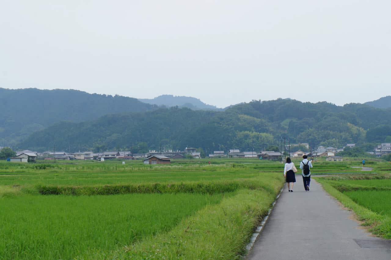 Deux personnes marchant sur une petite route au milieu des rizières à Asuka, Nara