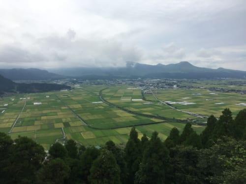 Vue sur le paysage rural de Kumamoto depuis l'avions