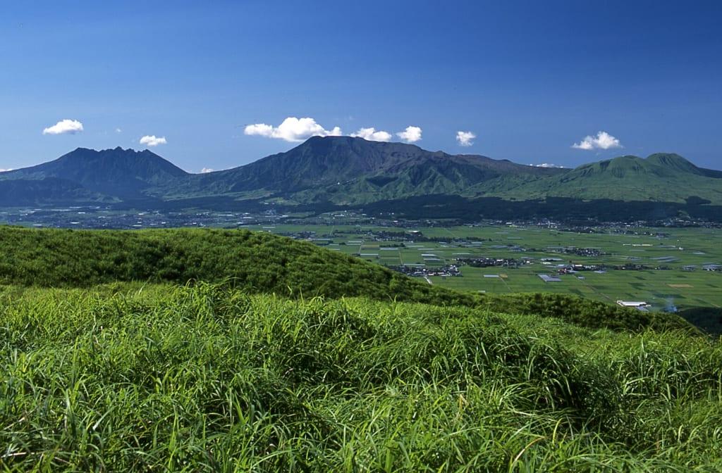 Vue panoramique sur la caldera du mont Aso à Kumamoto, derrière un premier plan végétal