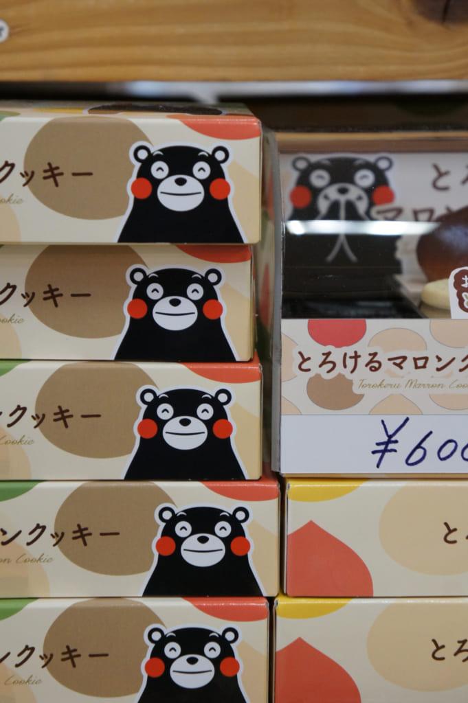 Boîtes de sucreries à l'effigie de Kumamon, la mascotte de Kumamoto