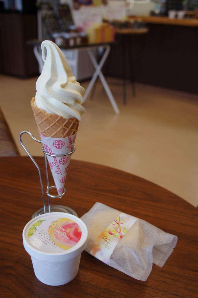 Glace italienne, pot de glace et monaka à la prune sumomo Honey Rosa