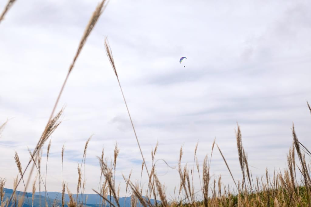 Parapente dans le ciel d'Aso : une des activités de plein air à pratiquer à Kumamoto